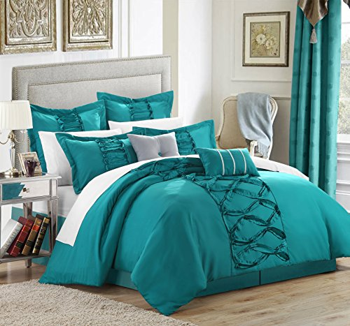 Turquoise Ruffled (Chic Home 8-Piece Ruth Ruffled Comforter Set, Queen, Turquoise)