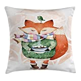 Ambesonne Animal Throw Pillow Cushion Cover, Cute Little Fox and Bird on His Head Tea Time Kids Nursery Friends Baby Theme, Decorative Square Accent Pillow Case, 18 X 18 Inches, Green Orange