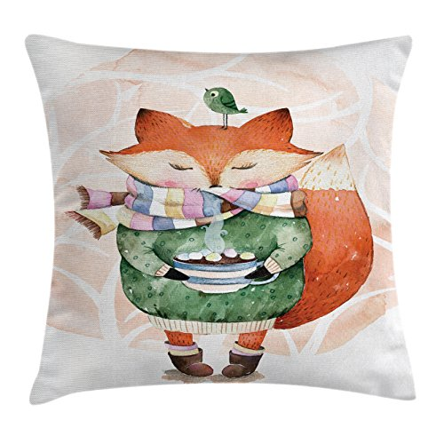 Ambesonne Animal Throw Pillow Cushion Cover, Cute Little Fox and Bird on His Head Tea Time Kids Nursery Friends Baby Theme, Decorative Square Accent Pillow Case, 18 X 18 Inches, Green Orange by Ambesonne