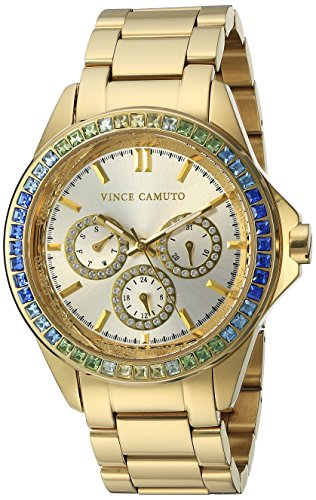Vince Camuto Women's VC/5086MTGB Swarovski Crystal Accented Multi-Function Gold-Tone Bracelet Watch