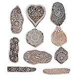 PARIJAT HANDICRAFT Printing Stamps Mughal Design Wooden Blocks (Set of 10) Hand-Carved for Saree Border Making Pottery Crafts Textile Printing