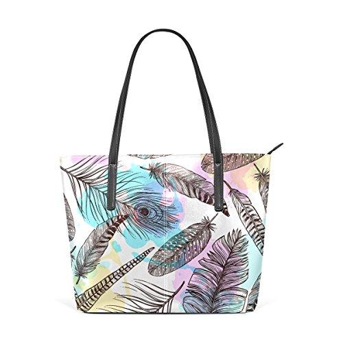 COOSUN Dibujado a mano plumas hombro del patrón de cuero de la PU del monedero del bolso y bolsos bolsa de asas para las mujeres Medio muticolour