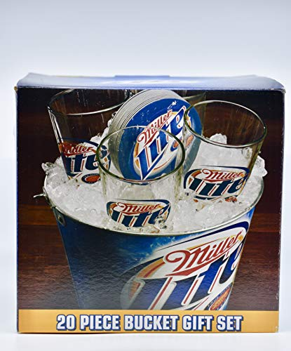 2007 - Miller Lite Gift Set - Metal Bucket / 15 Coasters/Four 16 Ounces Pub Glasses - Packed in Gift Box - Collectible - Out of Production - Rare