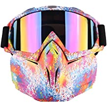 Detachable UV Protective Motorcycle Goggles Mask Anti-fog Protective Ski Goggles, Ehonestbuy Adjustable Windproof Outdoor Paintball Airsoft Mask Face Shield for Kids Youth Men Women