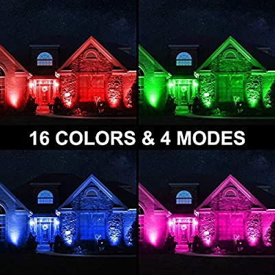 Olafus 2 Pack 60W RGB LED Flood Light, Remote Control, Dimmable Outdoor Color Changing Floodlights, 16 Colors, 4 Modes LED Wall Wash Light, IP66 Waterproof for Party, Wedding, Yard, Garden, US 3-Plug