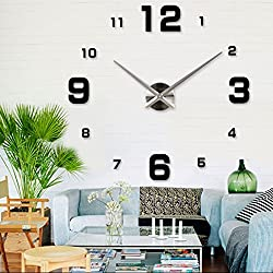 Arabic Numerals Large Hands Modern DIY Big Frameless Quartz Clock 3D Mirror Effect Wall Clock Oversized Decoration Living Room Wall Sticker Decal Meeting Room Office Self-adhesive Decor (Black)