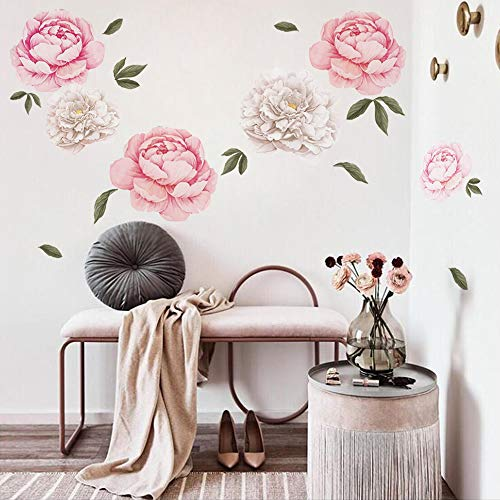 decalmile Giant Peony Flowers Wall Stickers Romantic Floral Wall Decals Girls Bedroom Living Room Wall Art Home Decor