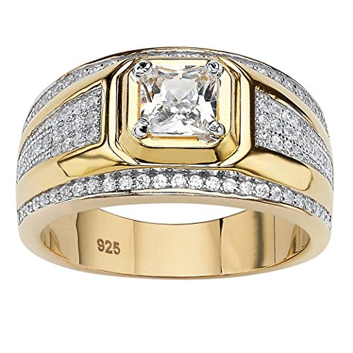 (Men's Square-Cut White Cubic Zirconia 14k Gold over Sterling Silver Ring Size 9)