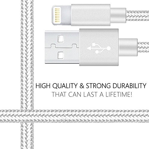 Certified 5W 1A USB Power Wall Charger with 2-Pack 10FT/3M [Heavy Duty] Nylon Braided 8 Pin Lightning to USB Cable Charger (Silver) (4-Pack) (2 Pack 10 Feet + 2 USB Adapters) by Power Boost (Image #1)