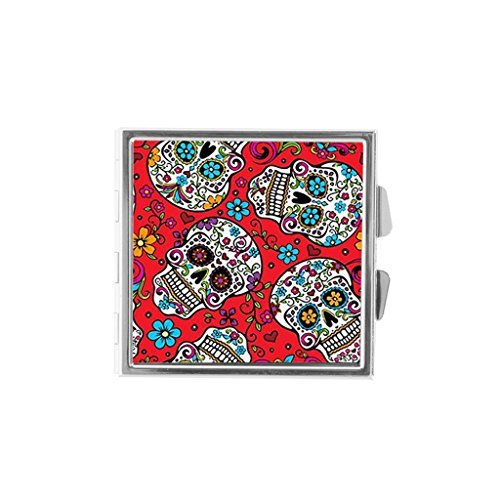 (Cute Little Sugar Skull Skeleton Custom Unique Stainless Steel Pill Box Medicine Tablet Organizer or Coin Purse)