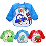 Echodo 4 Packs Waterproof Children's Art Smock Kids Painting Aprons Long Sleeve Baby Smock for Eating 1-4 Years