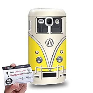 Case88 [Samsung Galaxy Ace 3] 3D impresa Carcasa/Funda dura para & Tarjeta de garantía - Art Fashion Yellow Retro Bus Mini Van