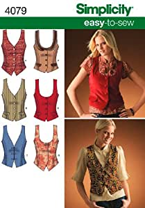 Simplicity Sewing Pattern 4079 Misses Lined Vests, H5 (6-8-10-12-14)