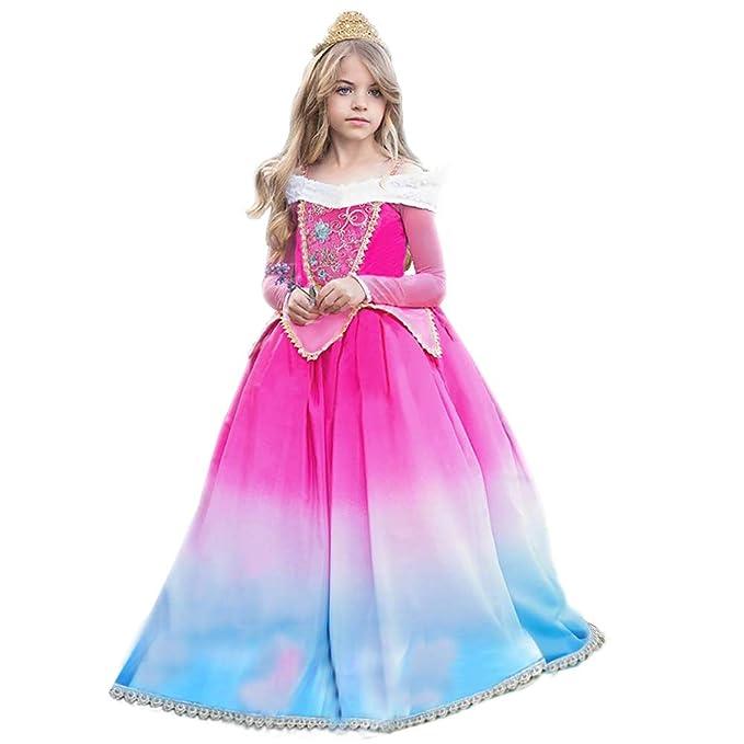 Vestido de princesa Aurora Sleeping Beauty Grimms Fairy Tales Disfraces para Niñas Carnaval Traje Halloween Fiesta Cosplay Costume largos Elegantes ...