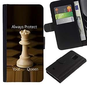 Paccase / Billetera de Cuero Caso del tirón Titular de la tarjeta Carcasa Funda para - chess queen protect England strategy - Samsung Galaxy S5 Mini, SM-G800, NOT S5 REGULAR!