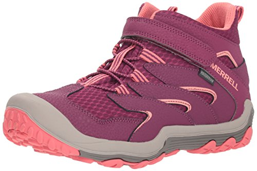 Merrell Girls' Chameleon 7 Access Mid A/C WTRPF Hiking Shoe, Berry/Coral, 13.5 Medium US Little Kid