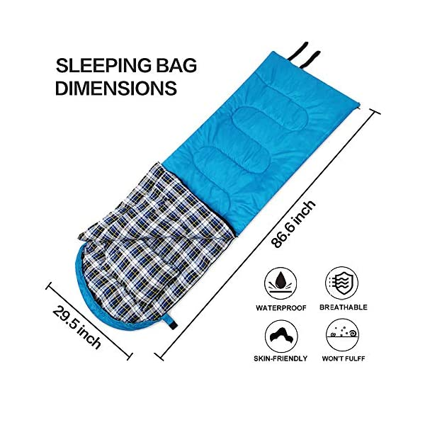 DESERT & FOX Cotton Flannel Sleeping Bags with Pillow, 4 Season Warm & Cold Weather Envelope Compression Sack, Lightweight & Portable Backpacking Sleeping Bag for Outdoor Camping, Hiking, Traveling 4