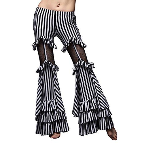 UPRIVER GALLERY Tribal Dance Pants Zebra Stripes Bell-bottom Dance Pants M