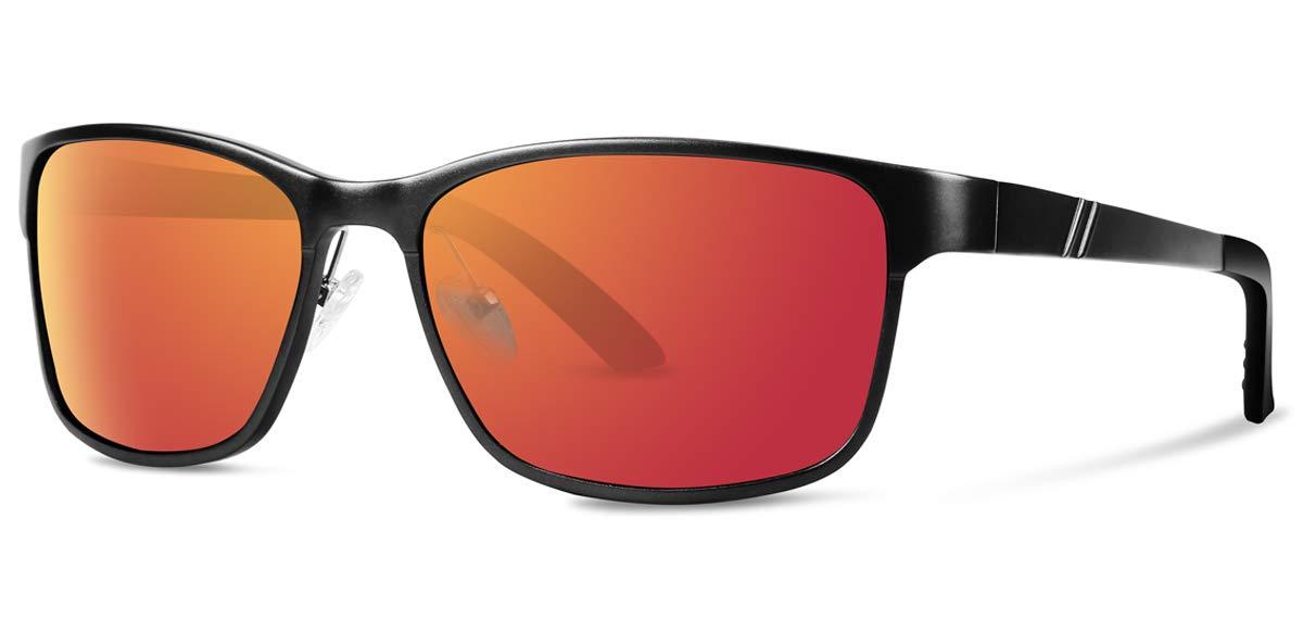 PAERDE Men's Sports Polarized Wayfarer Sunglasses For Men Women Al- Mg Metal Sun Glasses (Black-red)