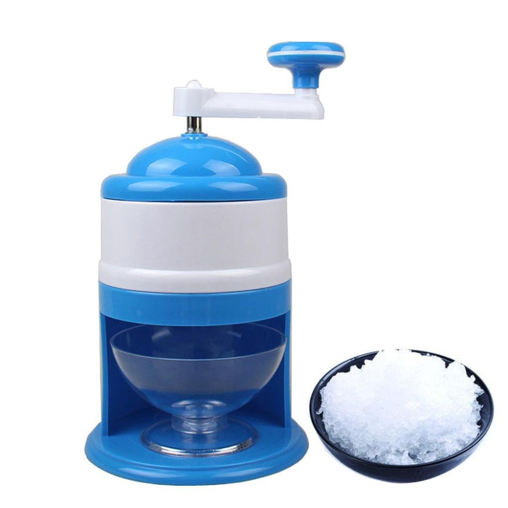 FTXJ Portable Hand Crank Manual Ice Shaver Crusher Shredding Snow Cone Maker Machine (Blue, 15.5x27.5cm)