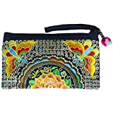 Sabai Jai - Smartphone Wristlet Bag - Handmade Embroidered Boho Clutch Wallets Purses (Tangerine)