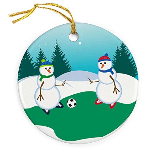 ChalkTalkSPORTS Soccer Porcelain Ornament | Kickoff Snowman Christmas Ornament ()