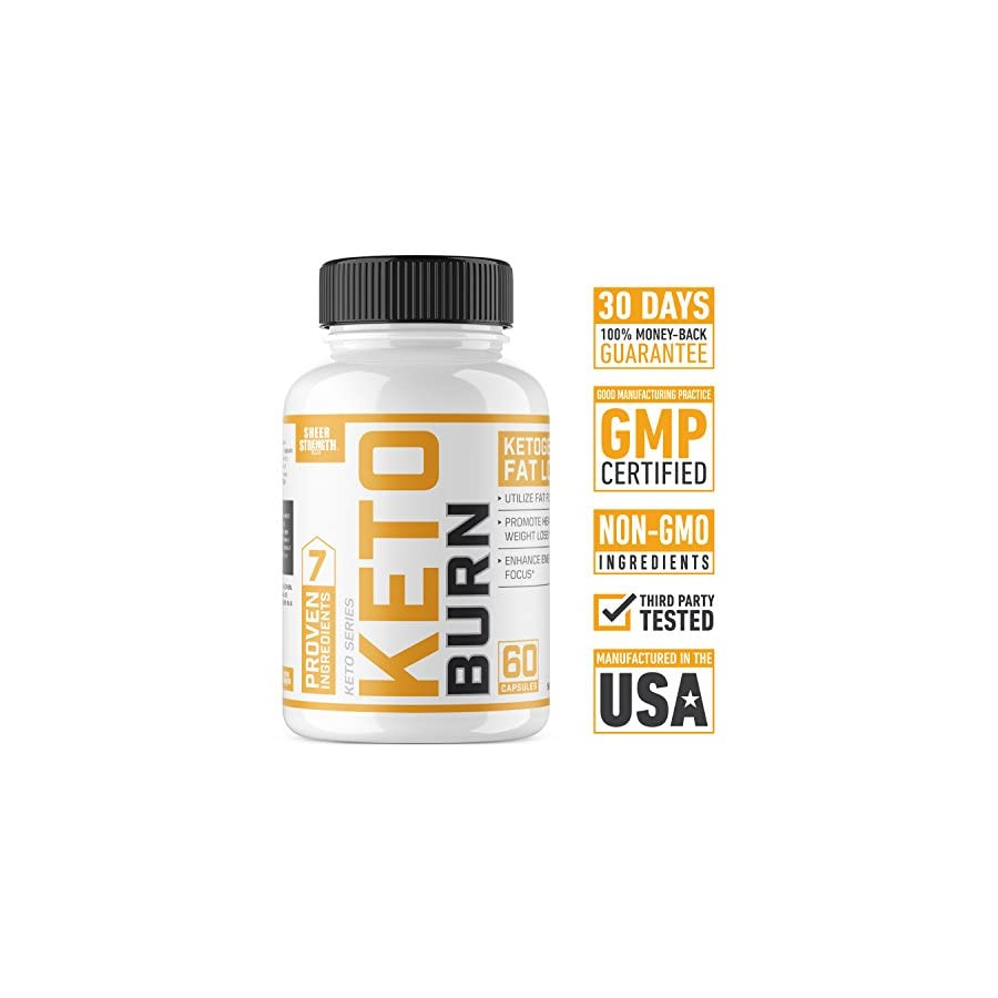 Extra Strength Ketogenic Fat Burner and Nootropic Supplement Supports Healthy Weight Loss, Mental Focus & Clarity L Theanine, Bacopa Monnieri & More 60 Ct. Sheer Strength Labs