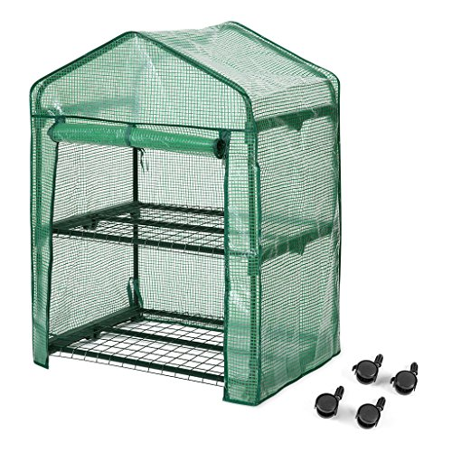 Finether 2-Tier Greenhouse,27″ Wx19 Dx38 H Portable Garden House with Wheels for Indoor/Outdoor Plants
