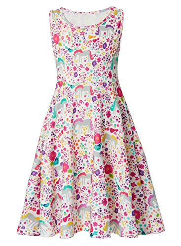 (Leapparel Big Girls Sun Flower Cute Print Dress Cartoon Unicorn Animal Pattern Clothing Scoop Neck Dresses for 10-13Years Old)