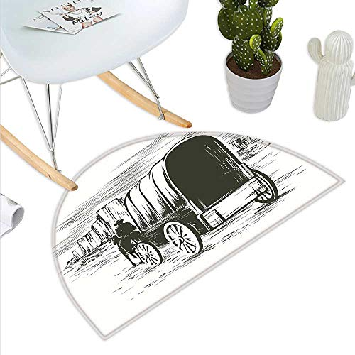 (Western Semicircle Doormat Old Traditional Wagon Wild West Prairies Pioneer on Horse Transportation Cart Halfmoon doormats H 47.2