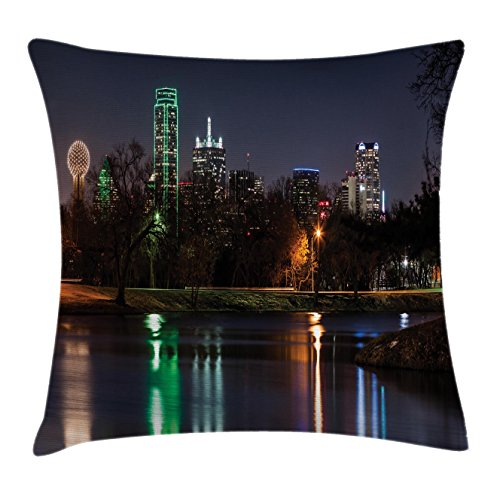 Lunarable USA Throw Pillow Cushion Cover, Dallas City Skyline Reflected in a Lake Park with Trees at Night Landscape Scenery, Decorative Accent Pillow Case, 26 W X 16 L inches, Multicolor ()