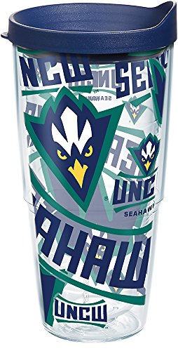 - Tervis 1271458 UNC Wilmington Seahawks All Over Insulated Tumbler with Wrap and Navy Lid 24oz Clear