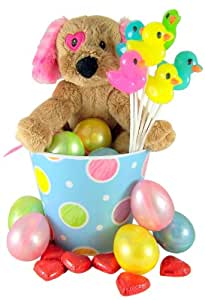 Dog with Heart Eye Patch Plush Toy in Pastel Easter Basket with Eggs and Assorted Candy