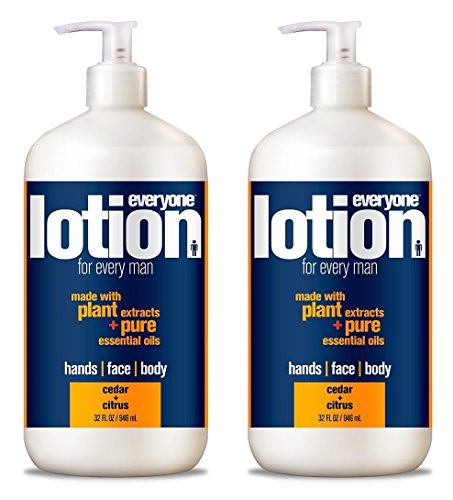 EveryOne Lotion 3-In-1 Cedar and Citrus Lotion for Men (Pack of 2) With Coconut Oil, Sesame Seed Oil, Rice Protein, Aloe Leaf, Matricaria Flower, Lavender Oil and Orange Peel, 32 fl. oz. each