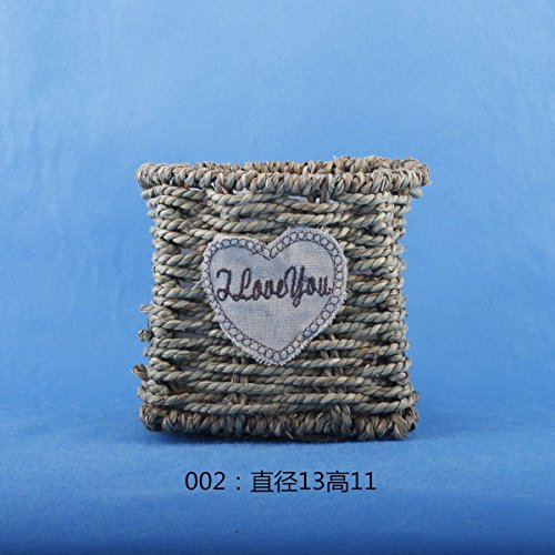 SEESUNG Straw Fleshy Flower Pot Straw Rope Weave Flower Basket, B by SEESUNG (Image #3)'