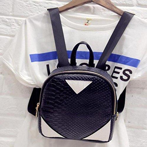 Creazrise Black Canvas Serpentine Concise Backpack Rucksack Women qrSwaTq4