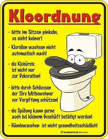 Blechschild Kloordnung Spruchschild Badezimmer Deko gelb rot ...