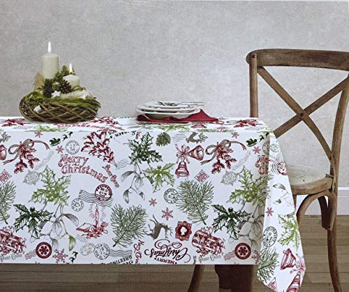 ENVOGUE Holiday Collection Cotton Fabric Christmas Tablecloth Nostalgic Pattern Postmarks Mail Holly Snowflakes Santa Sleighs Pine Boughs Presents Paris - 60 Inches x 84 Inches ()