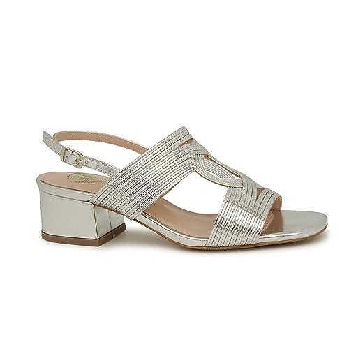diseño atemporal 008e4 6df9c Sandalia Fiesta tacón bajo Plata: Amazon.es: Zapatos y ...