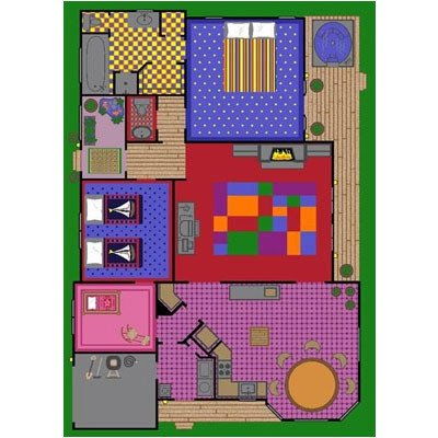 Playhouse Creative Rug - Joy Carpets Kid Essentials Active Play & Juvenile Creative Play House Rug, Multicolored, 3'10
