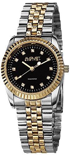 Black Gold Dial Diamond (August Steiner Women's AS8046TTG Diamond Accented Black Dial Silver & Yellow Gold Bracelet Watch)
