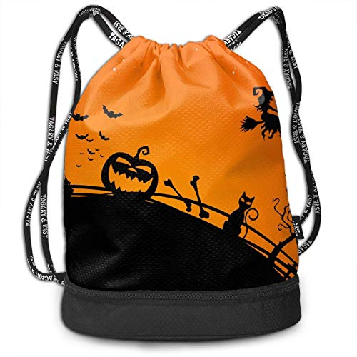 Sport Drawstring Backpack Sport Gym Bag Beatybag,Halloween Creepy Bats Midnight Cat Shoulder Printing Gymsack Unisex Bundle -
