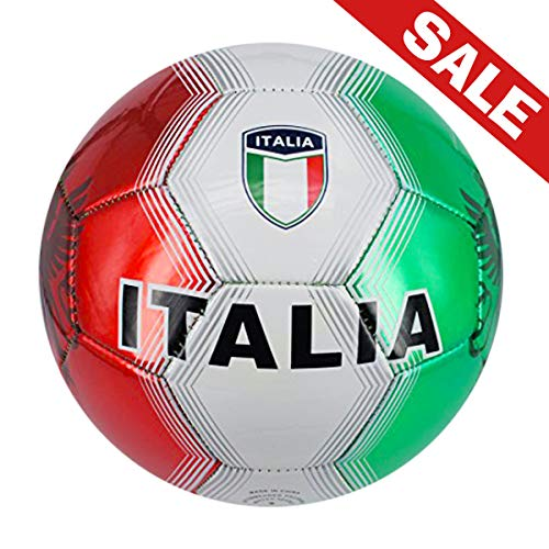 Machine Stitch Soccer Ball with Italia Country Name Size: 5 (Shiny Green/red)