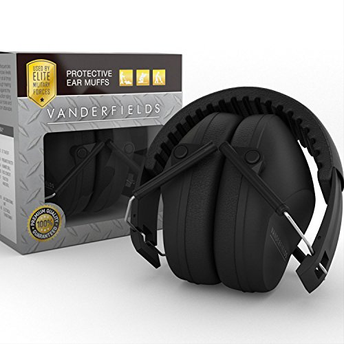 Earmuffs hearing protection with low profile passive folding design 26dB NRR and reduces up to 125dB, black