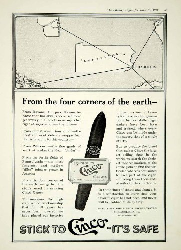1918 Ad Cinco Cigars Otto Eisenlohr Wisconsin Pennsylvania Sumatra Cuba Holland - Original Print Ad by PeriodPaper...
