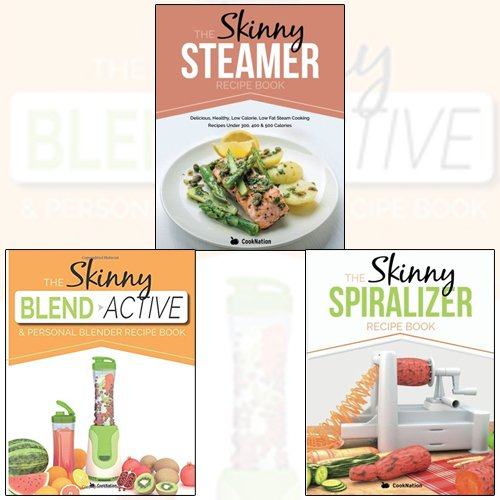 Price comparison product image Skinny Spiralizer Recipe Book Collection 3 Books Set With Gift Journal (The Skinny Blend Active & Personal Blender Recipe Book, The Skinny Steamer Recipe Book)