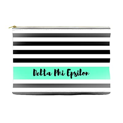 Delta Phi Epsilon Black White Stripes Teal Cosmetic Accessory Pouch Bag for Makeup Jewelry & other Essentials