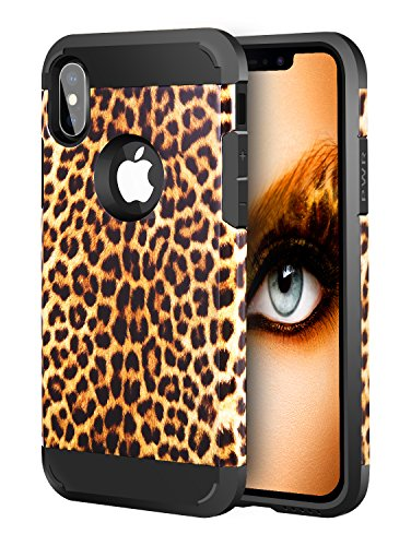 iPhone Xs Case Camo, iPhone X Case Camo, iPhone Xs X Dual Layer Camouflage Leopard Shockproof Protective Case TPU Bumper Hard PC Back Case Cover Compatible Apple iPhone Xs/X 5.8
