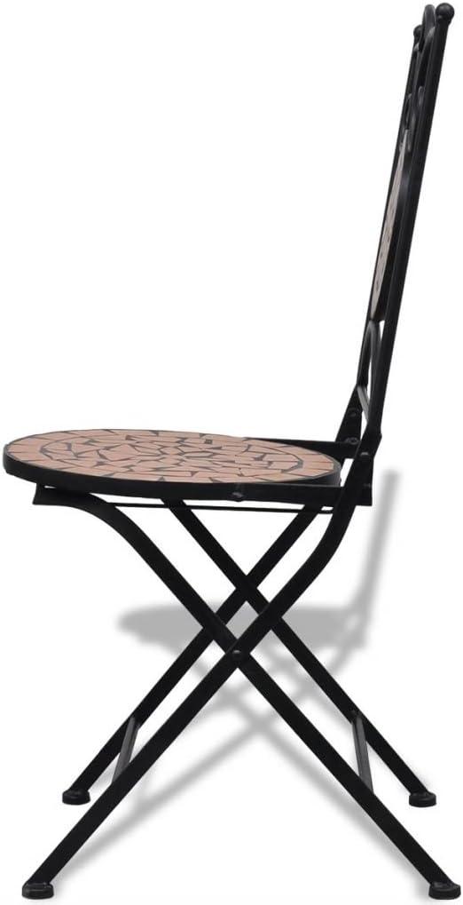 yorten Mosaikstuhl Klappstuhl Bistrostuhl 2er Set Keramische Sitzfl/ächen 37 x 44 x 89 cm Terrakotta-Rot B x T x H
