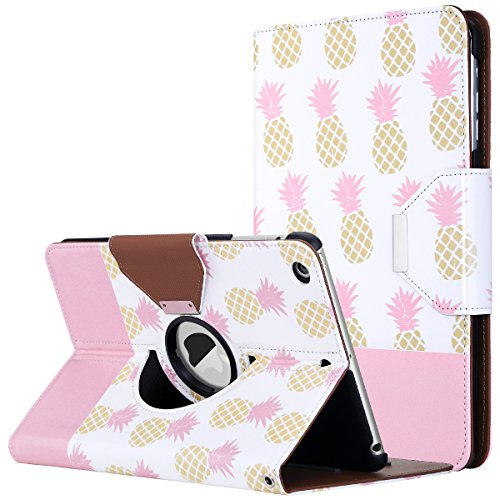 (ULAK iPad Mini Case for iPad Mini 3/2 / 1, Lightweight Synthetic Leather Rotating Stand Protective Case Smart Cover with Multi-Angle Viewing for Apple iPad Mini, Mini 2, Mini 3(Pink/Pineapple))